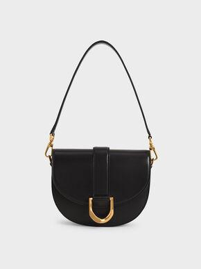 Metallic Buckle Saddle Bag, Black, hi-res