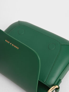 Ring Detail Crossbody Bag, Green, hi-res