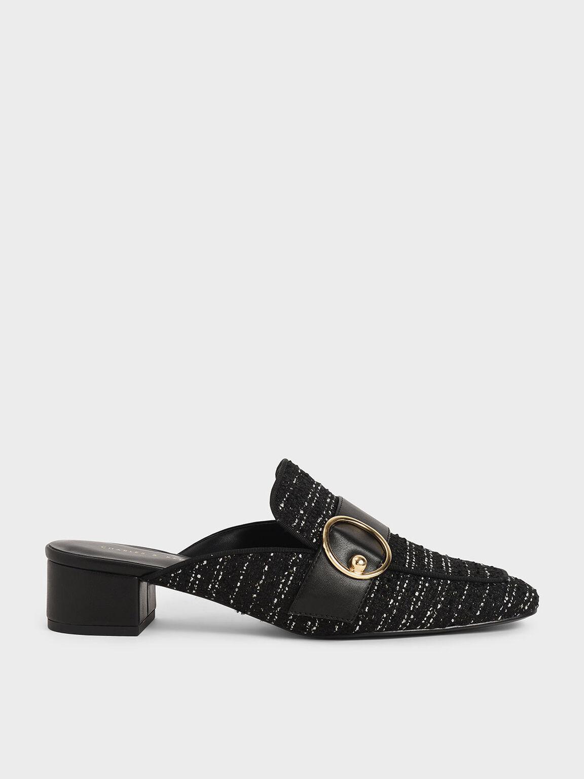 Ring Embellished Tweed Loafer Mules, Black Textured, hi-res