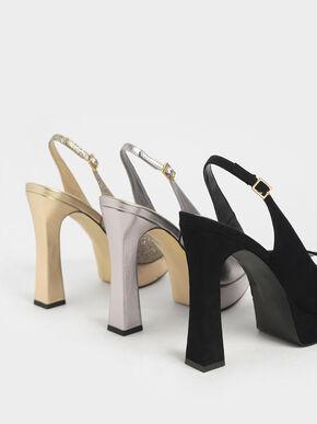 Platform Slingback Sandals, Silver, hi-res