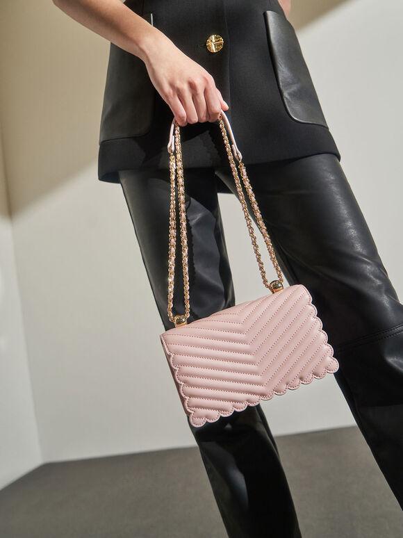Pearl-Embellished Crossbody Bag, Pink, hi-res