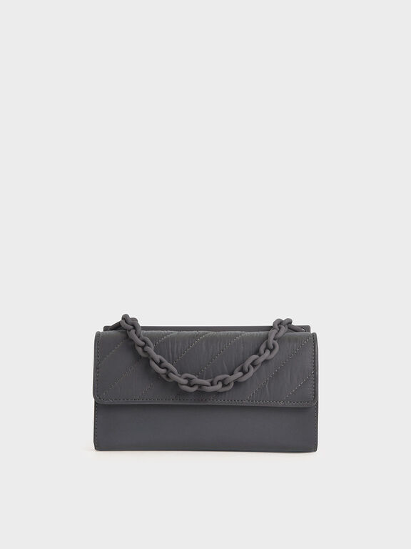 Nylon Panelled Chain Handle Wallet, Peacock, hi-res