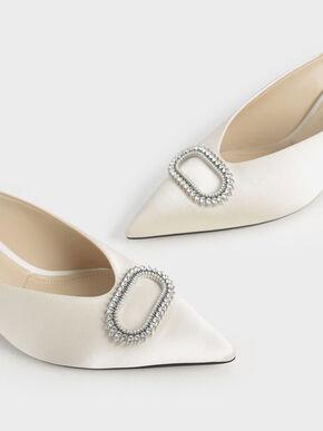 Wedding Collection: Satin Embellished Mules, White, hi-res