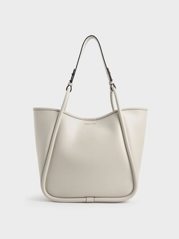 Circle Handle Tote Bag, Cream, hi-res
