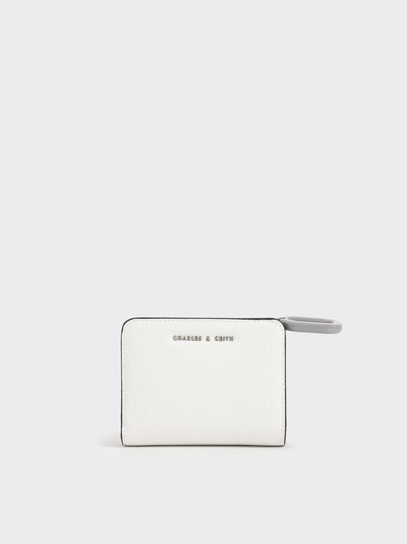 Mini Top Zip Small Wallet, White, hi-res