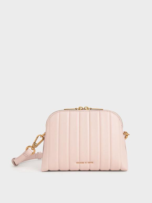Chain Handle Panelled Crossbody Bag, Light Pink, hi-res