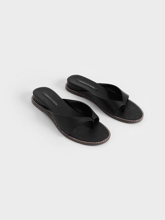 Stitch Trim Thong Sandals, Black, hi-res