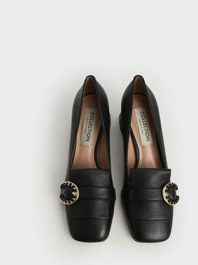 Leather Buckle Loafer Pumps, Black, hi-res