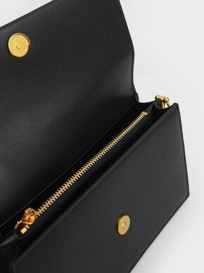 Metal Top Handle Long Wallet, Black, hi-res