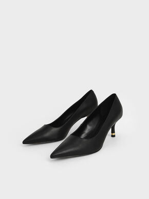 Metallic Accent Pumps, Black, hi-res