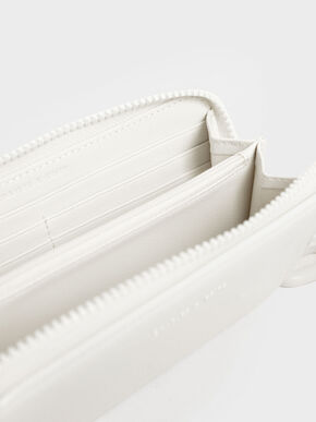 Patent Zip-Around Long Wallet, White, hi-res