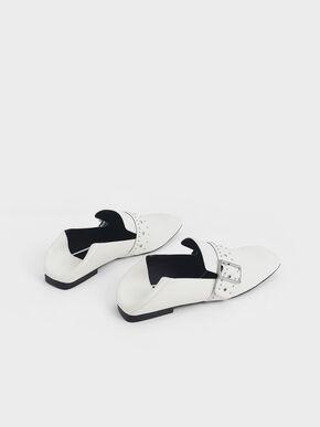 Grommet Buckle Step-Back Loafers, White, hi-res