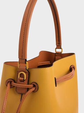 Drawstring Hobo Bag, Yellow, hi-res