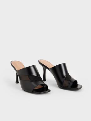 Mesh Panel Mules, Black, hi-res