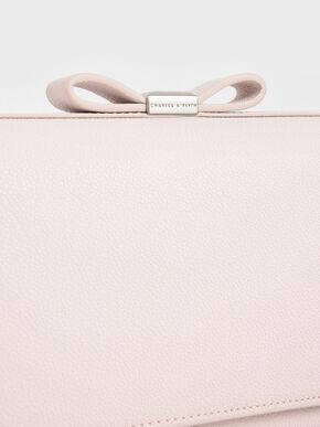 Bow Envelope Clutch, Pink, hi-res