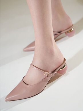 Sculptural Heel Pointed Toe Mules, Pink, hi-res
