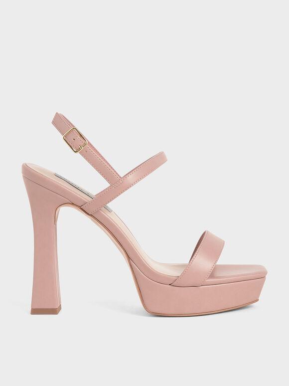 Platform Back Strap Sandals, Pink, hi-res