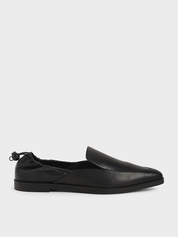 Drawstring Loafers, Black, hi-res