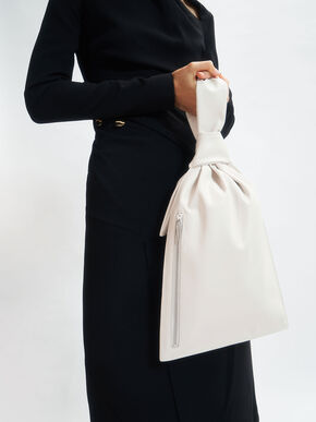 Knotted Single Handle Bag, White, hi-res