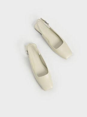 Square Toe Slingback Ballerina Flats, Chalk, hi-res
