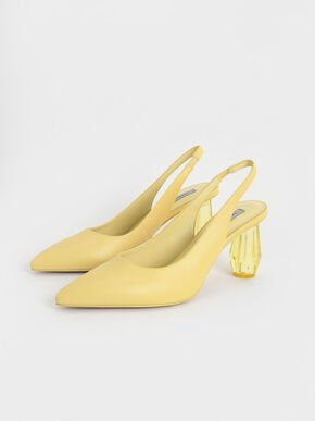 Sculptural Heel Slingback Pumps, Yellow, hi-res
