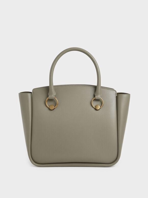 Ring Detail Large Hobo Bag, Taupe, hi-res