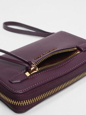 Zip Detail Wristlet, Purple, hi-res
