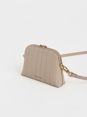 Chain Handle Panelled Crossbody Bag, Taupe, hi-res