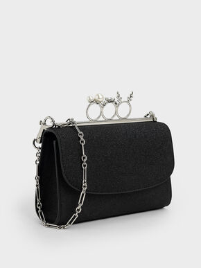 Glittered Knuckle-Ring Clutch, Black Textured, hi-res