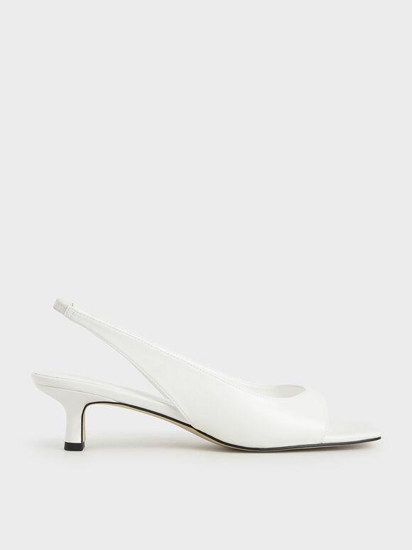 Slingback Thong Sandals, White, hi-res