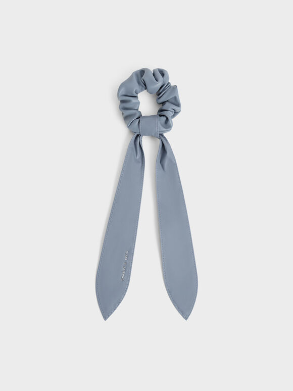 Riley Ruched Bow Scrunchie, Blue, hi-res