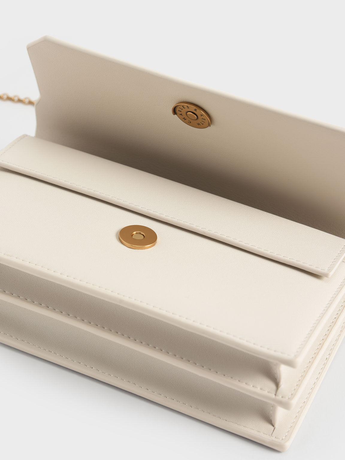 Front Flap Long Wallet, Cream, hi-res