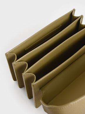 Metallic Push-Lock Boxy Bag, Khaki, hi-res