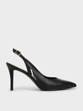 Cut-Out Slingback Pumps, Black, hi-res