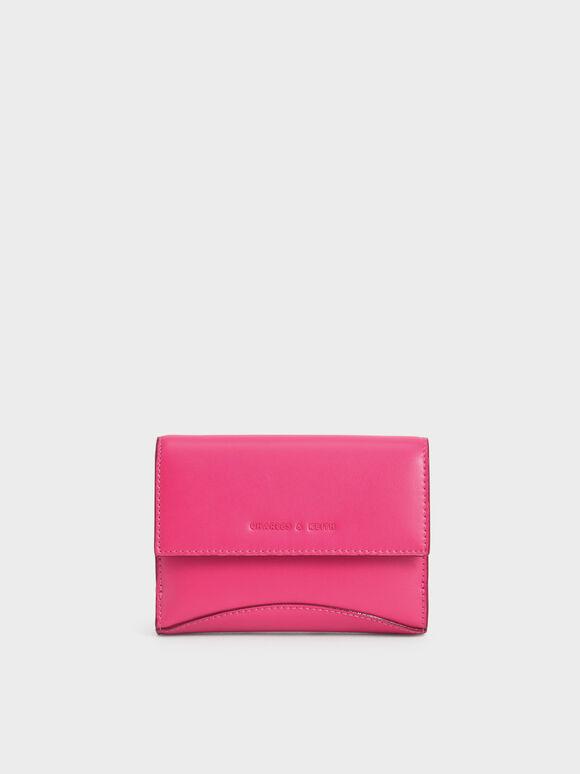 Snap Button Mini Short Wallet, Fuchsia, hi-res