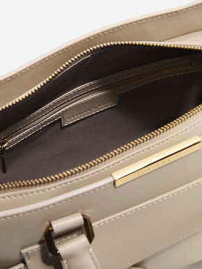Trapeze Front Flap Handbag, Taupe, hi-res