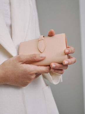 Snap Button Fold Wallet, Nude, hi-res