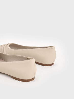 Ruched Ballerina Flats, Taupe, hi-res