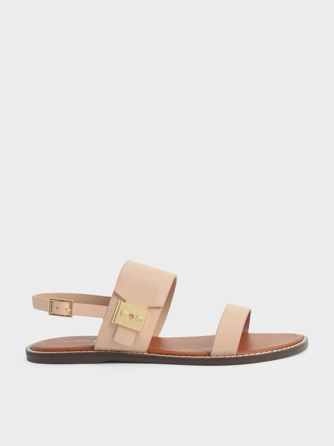 Metallic Buckle Sandals, Nude, hi-res