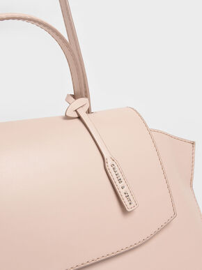 Geometric Top Handle Bag, Light Pink, hi-res