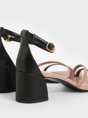 Snake Print Ankle Strap Sandals, Multi, hi-res