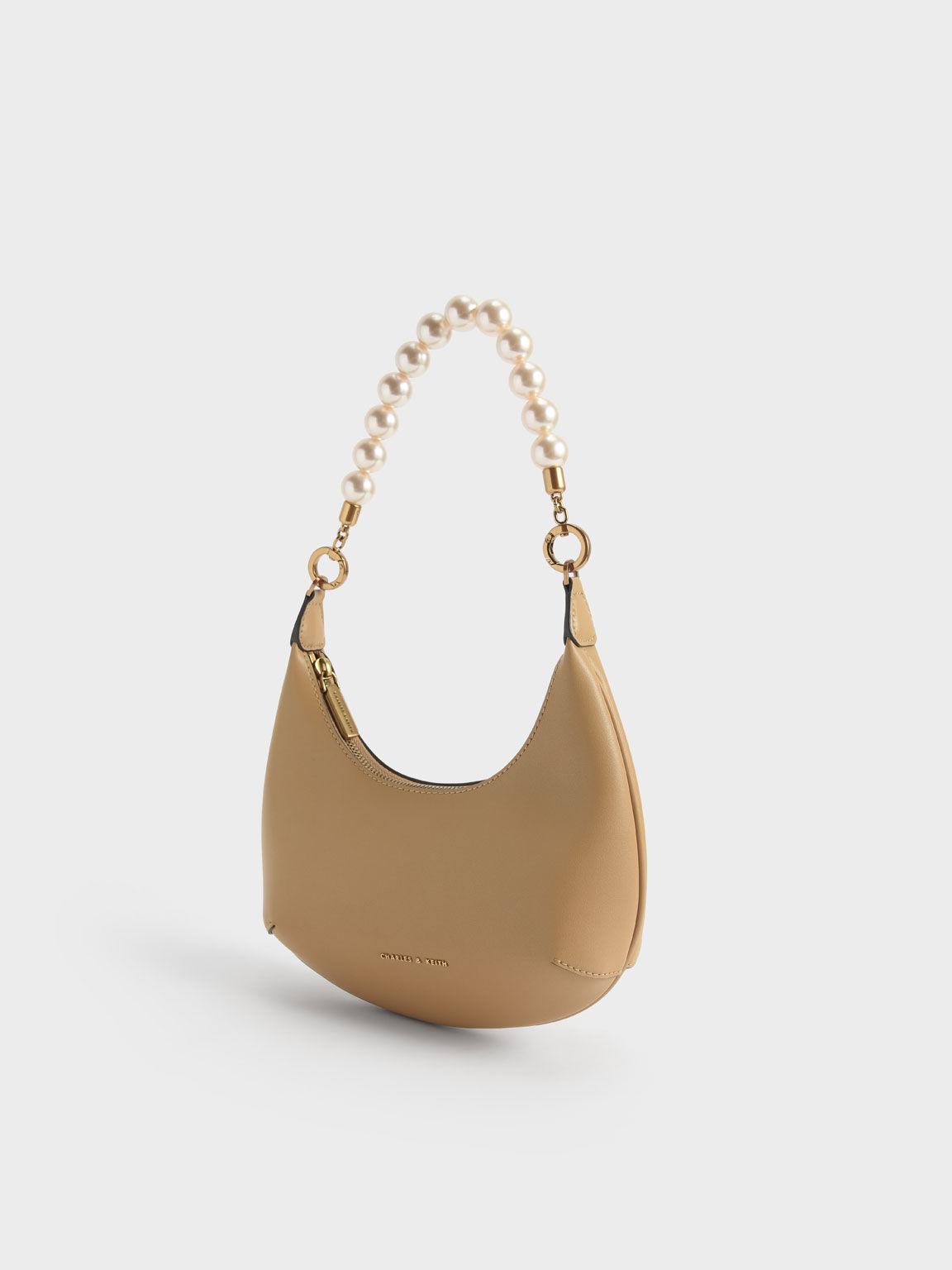 Beaded Handle Hobo Bag, Nude, hi-res