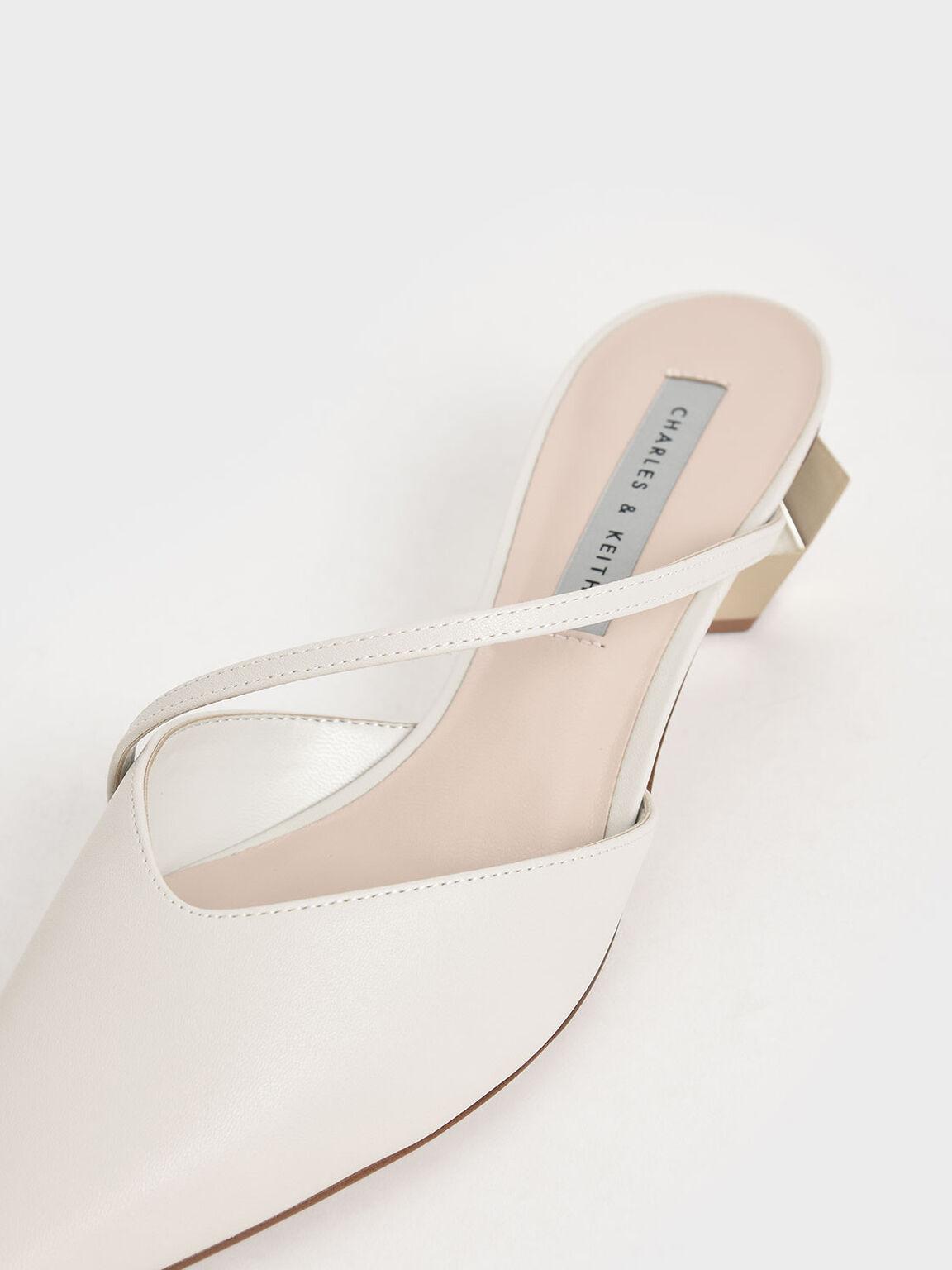 Asymmetric Strap Chrome Heel Mules, Chalk, hi-res
