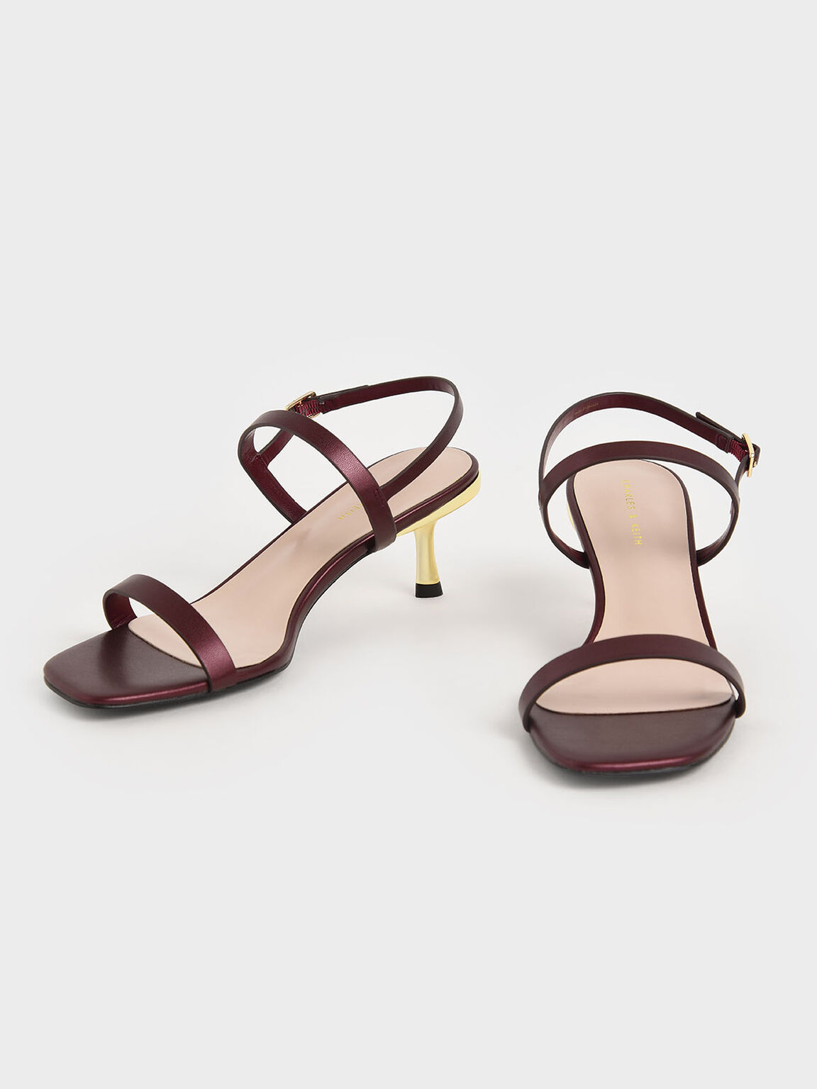 Metallic Ankle Strap Sandals, Red, hi-res