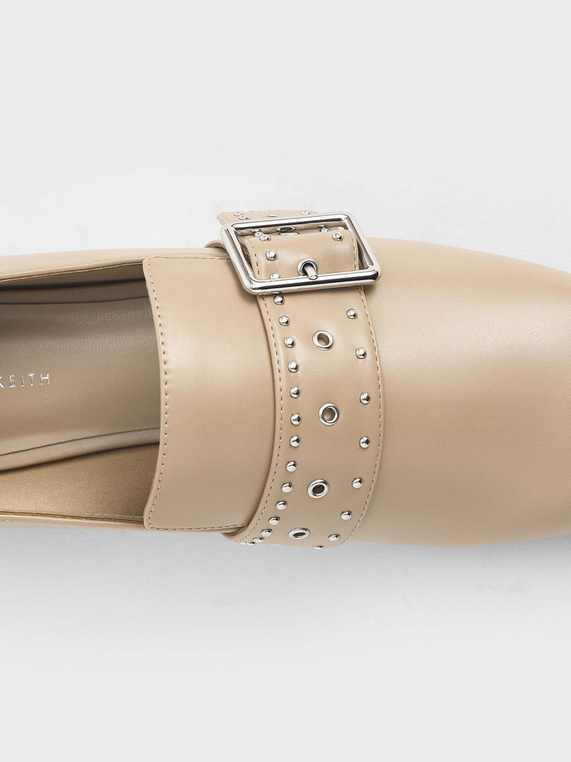 Grommet Buckle Loafers, Nude, hi-res