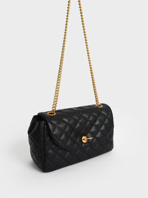 Chain Link Quilted Top Handle Bag, Black, hi-res