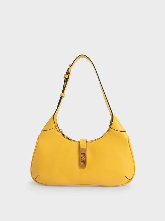 Metallic Accent Hobo Bag, Yellow, hi-res