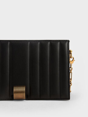 Panelled Metallic Push-Lock Wallet, Black, hi-res