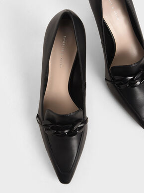 Chain-Embellished Loafer Pumps, Black, hi-res