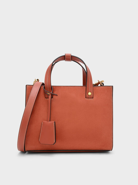 Structured Top Handle Tote Bag, Clay, hi-res